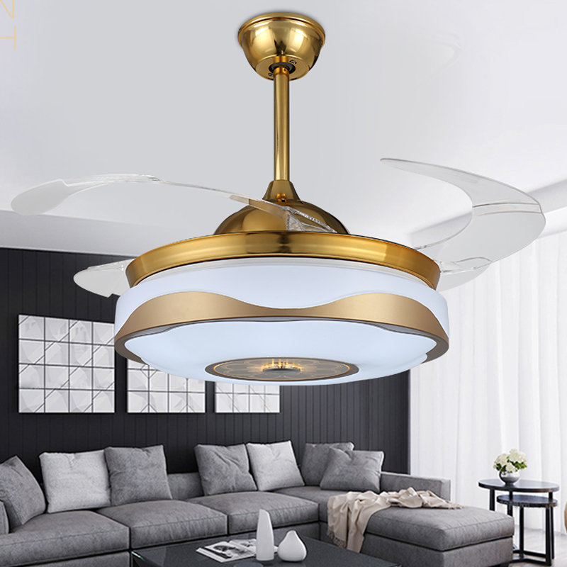Modern minimalist home Invisible Retractable Ceiling Fans LED Light Ceiling Lights Ceiling Lamp For Foyer restaurant Bedroom  Energy Remote Control