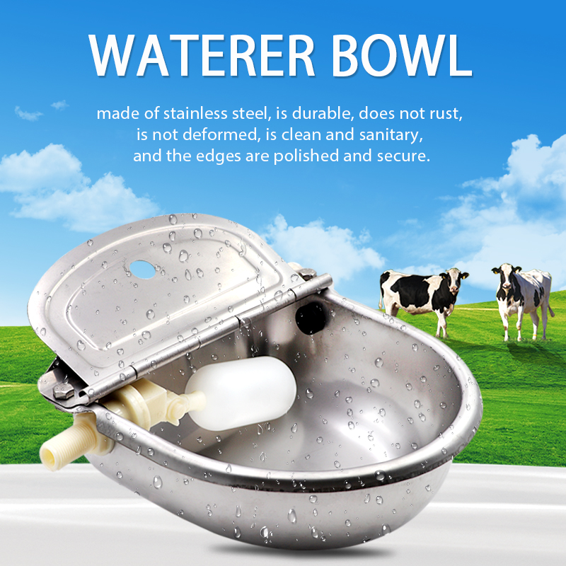Stainless Steel cow horse Water Bowls Cattle Dog Cattle Sheep Pig Float Bowl Water Outlet Automatic Waterer Drinking Bowl 1PC