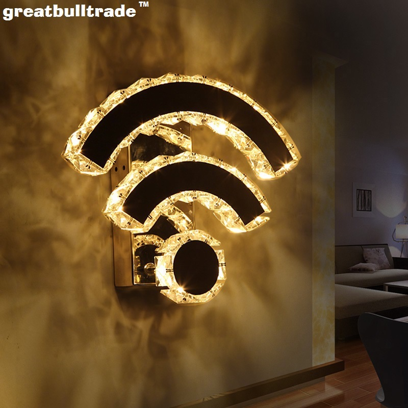 Creative WiFi wall lamp LED bedroom bedside lamp hotel dining room wall lamp staircase hallway lamp crystal lamp