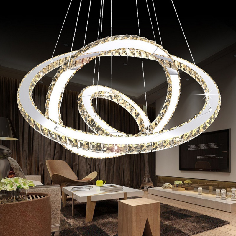 Modern minimalist led crystal chandelier round living room bedroom chandelier duplex building lobby chandelier 3 Rings