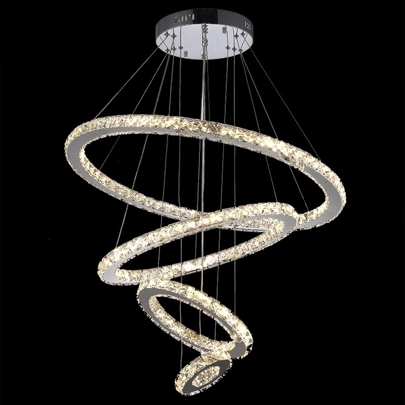 Modern minimalist led crystal chandelier round living room bedroom chandelier duplex building lobby chandelier 4 Rings
