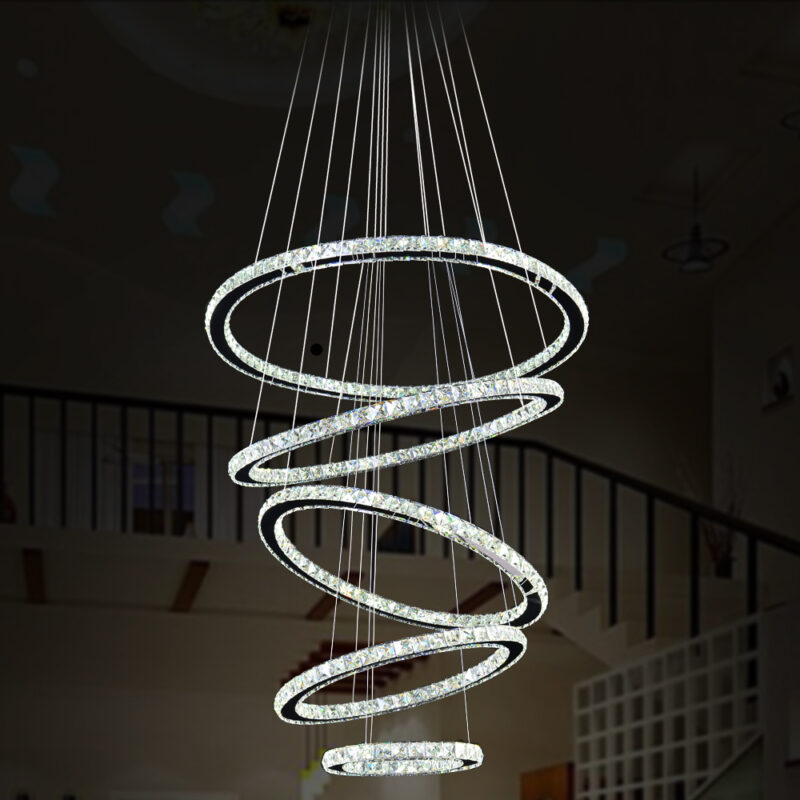 Modern minimalist led crystal chandelier round living room bedroom chandelier duplex building lobby chandelier 5 Rings