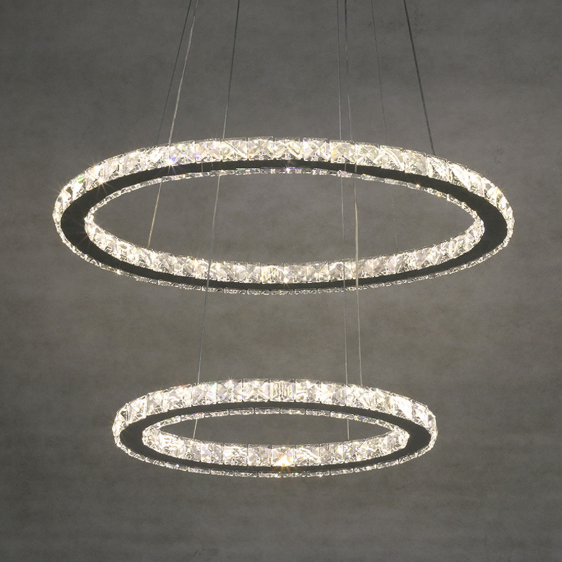 Modern minimalist led crystal chandelier round living room bedroom chandelier duplex building lobby chandelier 2 Rings