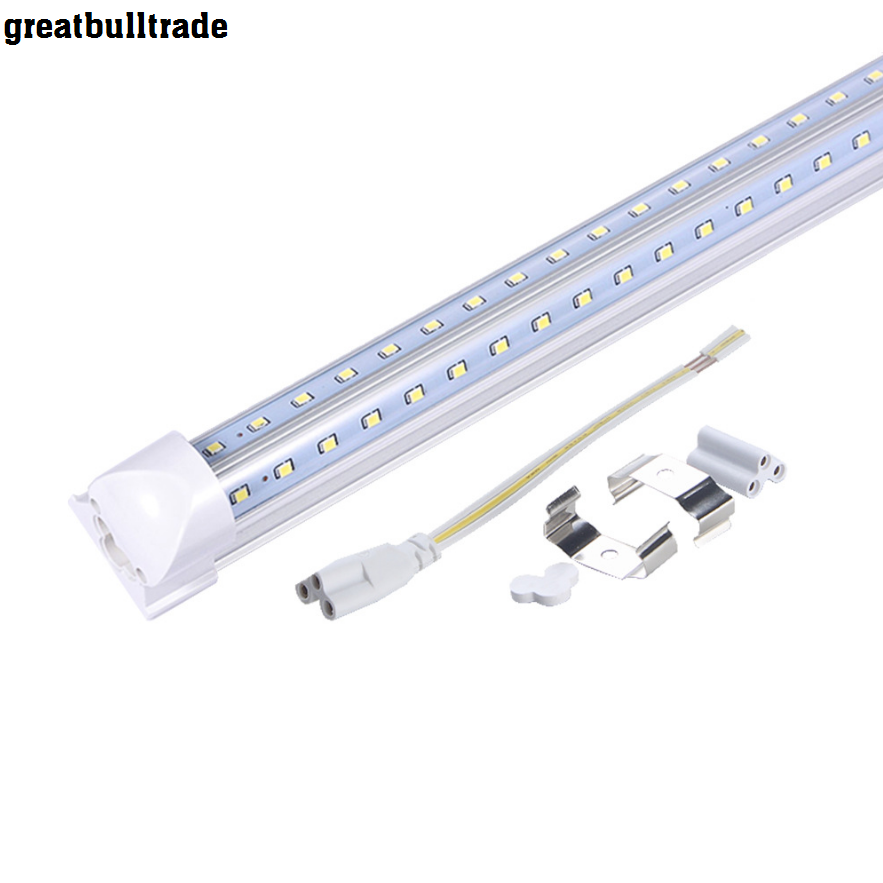 10PCS/Lot 2ft 4ft 5ft 6ft 8ft 600mm 1200mm 1500mm 1800mm 2400mm AC85-265V t8 integrated v shape led tube