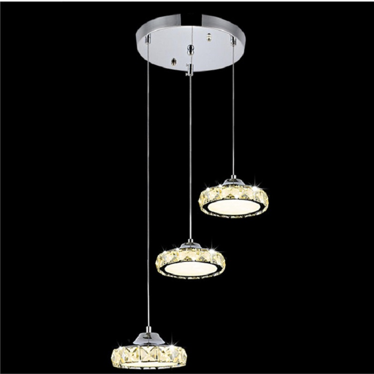 Three head Crystal Chandelier modern Simple led disk chandelier living room Restaurant circular chandeliers lighting