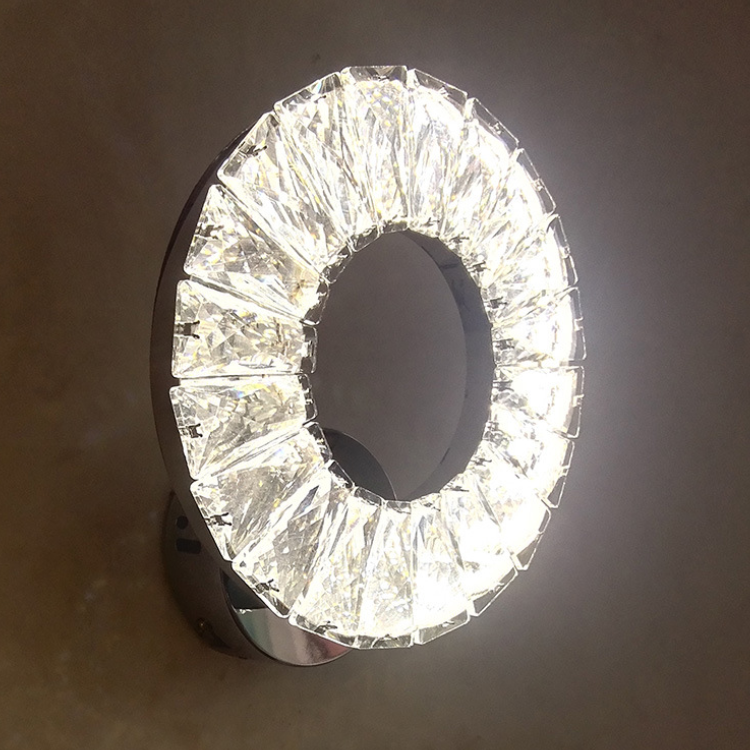 Crystal Aisle lamp LED Ring Stainless Steel Wall lamp Bedside Night lamp Stair lamp