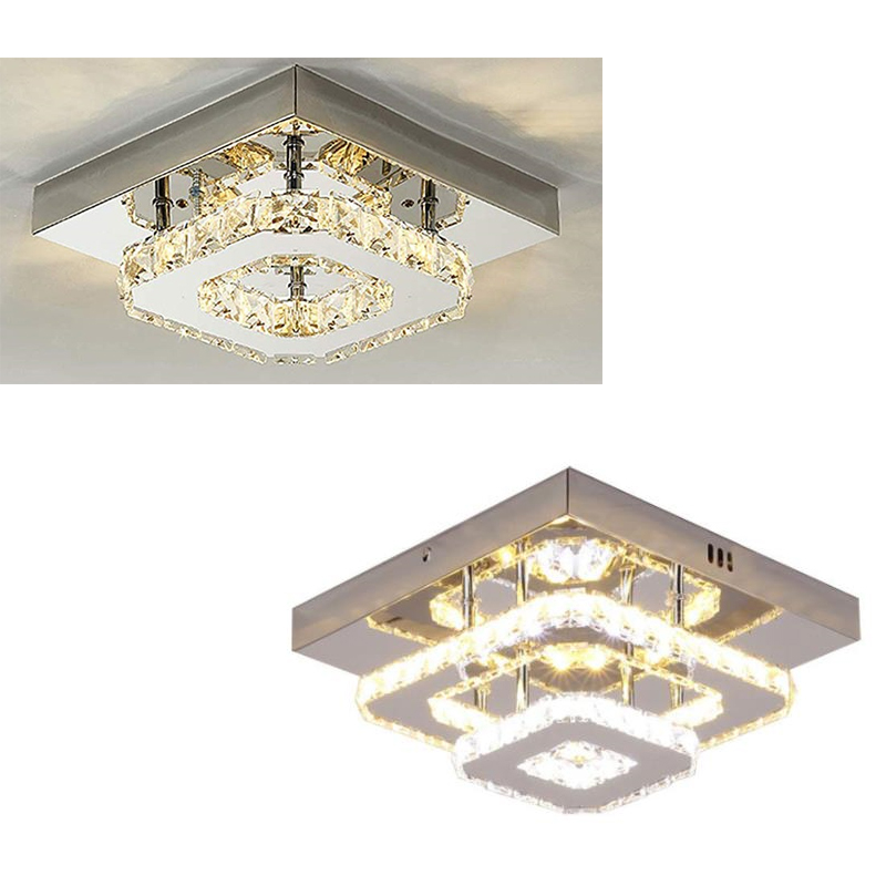LED Crystal Square Ceiling Lamp Modern Indoor Lighting Aisle Corridor LED Ceiling Light Home Decoration for Living Room