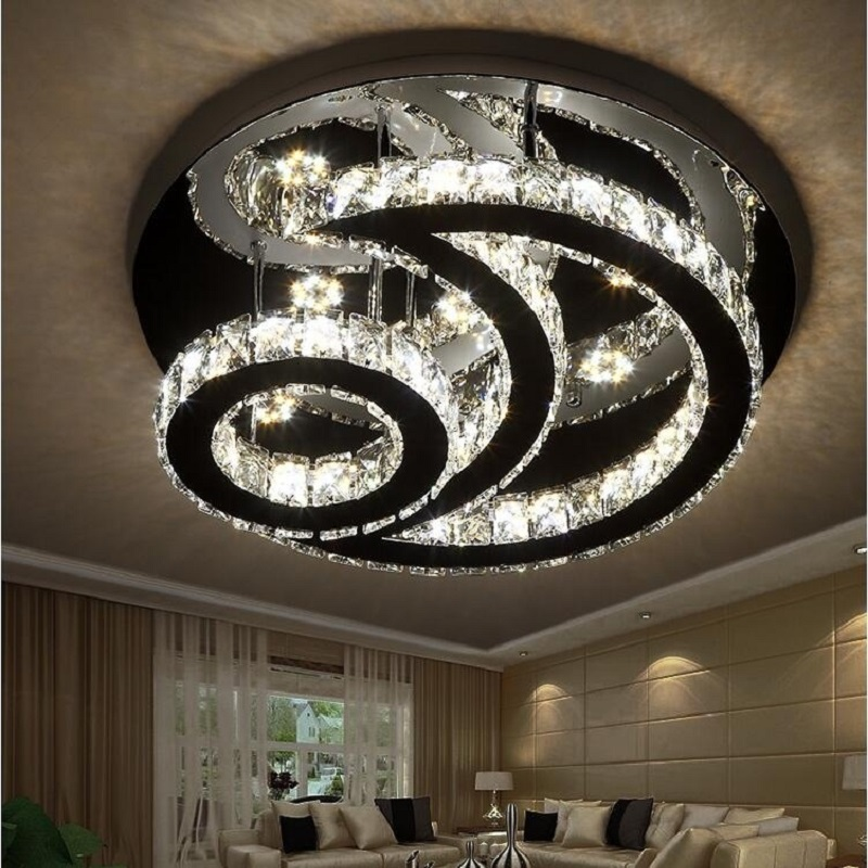 Stainless steel crystal ceiling light