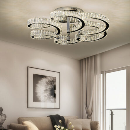 Simple modern living room stainless steel crystal ceiling lamp dining room bedroom shaped led light